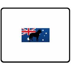 Australian Cattle Dog Silhouette on Australia Flag Double Sided Fleece Blanket (Medium)