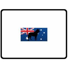 Australian Cattle Dog Silhouette on Australia Flag Double Sided Fleece Blanket (Large)