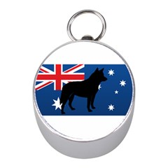 Australian Cattle Dog Silhouette on Australia Flag Mini Silver Compasses