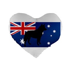 Australian Cattle Dog Silhouette on Australia Flag Standard 16  Premium Flano Heart Shape Cushions