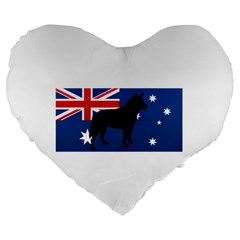 Australian Cattle Dog Silhouette on Australia Flag Large 19  Premium Flano Heart Shape Cushions