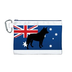 Australian Cattle Dog Silhouette on Australia Flag Canvas Cosmetic Bag (M)