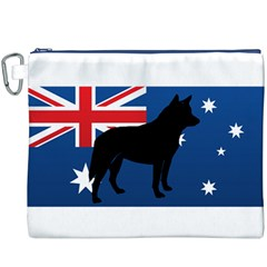 Australian Cattle Dog Silhouette on Australia Flag Canvas Cosmetic Bag (XXXL)