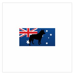 Australian Cattle Dog Silhouette on Australia Flag Large Satin Scarf (Square)