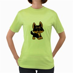 Lancashire Heeler Cartoon Women s Green T-Shirt