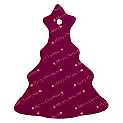 Merry Christmas,text,bordeaux Christmas Tree Ornament (2 Sides)