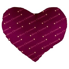 Merry Christmas,text,bordeaux Large 19  Premium Flano Heart Shape Cushions