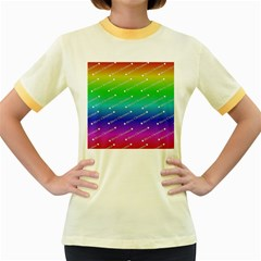 Merry Christmas,text,rainbow Women s Fitted Ringer T-Shirts