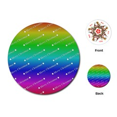 Merry Christmas,text,rainbow Playing Cards (round)