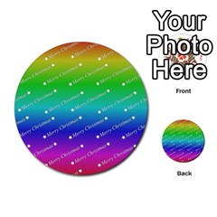 Merry Christmas,text,rainbow Multi-purpose Cards (Round)