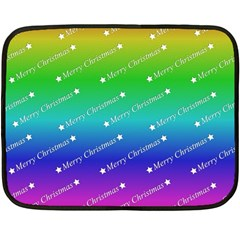 Merry Christmas,text,rainbow Fleece Blanket (Mini)