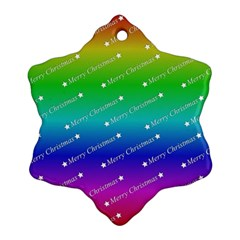 Merry Christmas,text,rainbow Snowflake Ornament (2 Side)