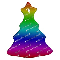 Merry Christmas,text,rainbow Christmas Tree Ornament (2 Sides)