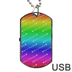 Merry Christmas,text,rainbow Dog Tag USB Flash (Two Sides)