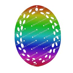 Merry Christmas,text,rainbow Oval Filigree Ornament (2-Side)