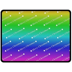 Merry Christmas,text,rainbow Double Sided Fleece Blanket (large)