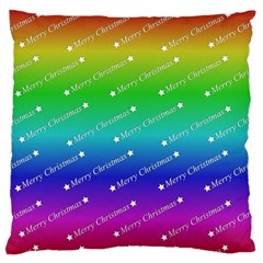 Merry Christmas,text,rainbow Large Flano Cushion Cases (one Side)
