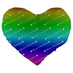 Merry Christmas,text,rainbow Large 19  Premium Flano Heart Shape Cushions