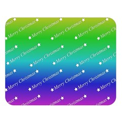 Merry Christmas,text,rainbow Double Sided Flano Blanket (Large)
