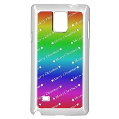 Merry Christmas,text,rainbow Samsung Galaxy Note 4 Case (white)