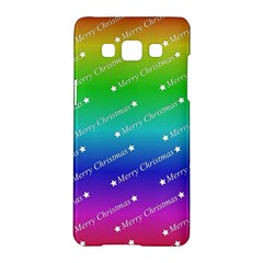 Merry Christmas,text,rainbow Samsung Galaxy A5 Hardshell Case