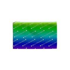 Merry Christmas,text,rainbow Cosmetic Bag (XS)
