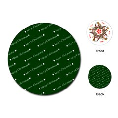 Merry Christmas,text,green Playing Cards (Round)