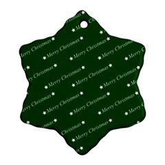 Merry Christmas,text,green Snowflake Ornament (2 Side)