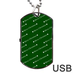 Merry Christmas,text,green Dog Tag USB Flash (One Side)