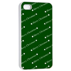 Merry Christmas,text,green Apple Iphone 4/4s Seamless Case (white)