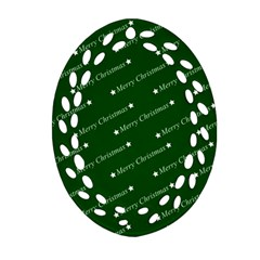 Merry Christmas,text,green Oval Filigree Ornament (2-Side)