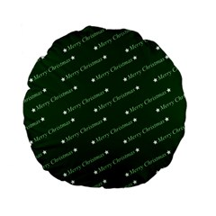 Merry Christmas,text,green Standard 15  Premium Flano Round Cushions