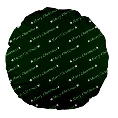 Merry Christmas,text,green Large 18  Premium Flano Round Cushions