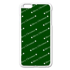 Merry Christmas,text,green Apple iPhone 6 Plus Enamel White Case