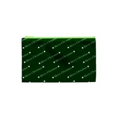 Merry Christmas,text,green Cosmetic Bag (XS)
