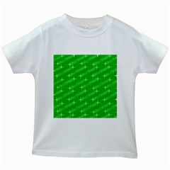 Many Stars, Neon Green Kids White T-Shirts