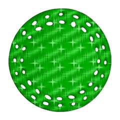 Many Stars, Neon Green Round Filigree Ornament (2side)