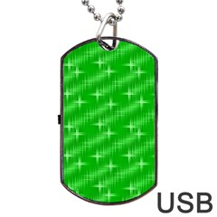 Many Stars, Neon Green Dog Tag USB Flash (Two Sides)