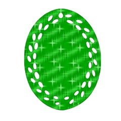 Many Stars, Neon Green Oval Filigree Ornament (2-Side)