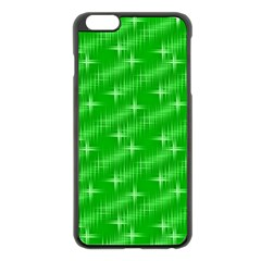 Many Stars, Neon Green Apple iPhone 6 Plus Black Enamel Case