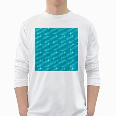 Many Stars,aqua White Long Sleeve T-Shirts
