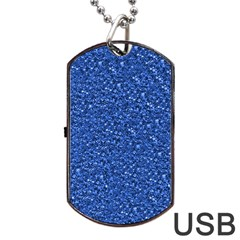 Sparkling Glitter Blue Dog Tag USB Flash (One Side)