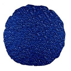 Sparkling Glitter Blue Large 18  Premium Flano Round Cushions