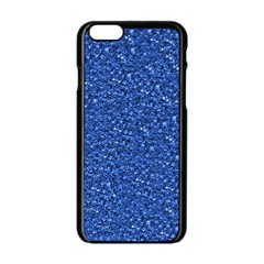 Sparkling Glitter Blue Apple iPhone 6 Black Enamel Case