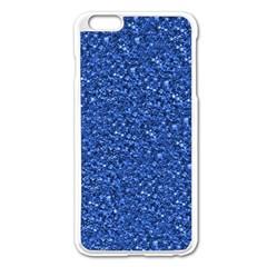 Sparkling Glitter Blue Apple iPhone 6 Plus Enamel White Case