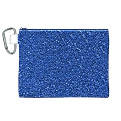 Sparkling Glitter Blue Canvas Cosmetic Bag (XL)