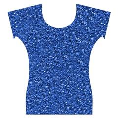 Sparkling Glitter Blue Women s Cap Sleeve Top