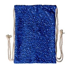 Sparkling Glitter Blue Drawstring Bag (Large)