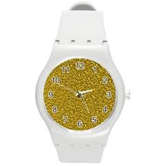 Sparkling Glitter Golden Round Plastic Sport Watch (m)