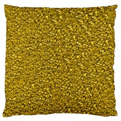 Sparkling Glitter Golden Large Flano Cushion Cases (One Side)
